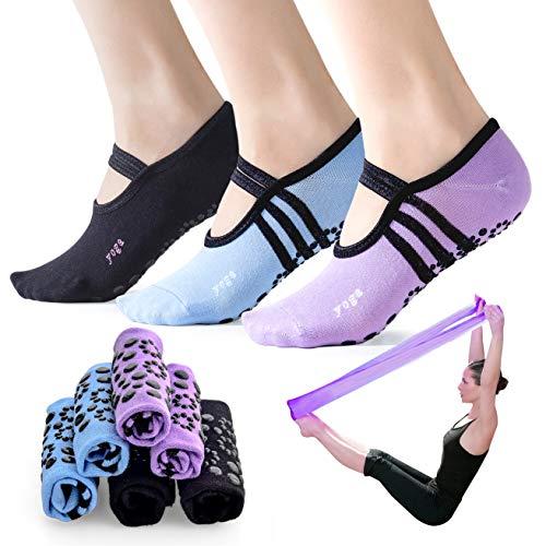 3-Pair Yoga Socks Non Slip Dance Socks Pilates Socks with Bonus of Exercise Band