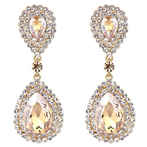 BriLove Women's Fashion Wedding Bridal Crystal Teardrop Infinity Beaded Dangle Earrings Champagne Honey Topaz Color (Color Stones Dangle Earrings)