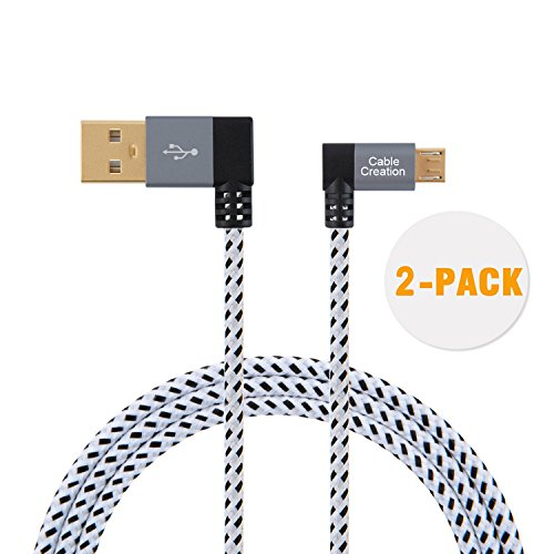 CableCreation 6.5Feet [2-PACK] 90 Degree USB 2.0 A to Micro USB B Cable, Double Angle-Dual Angled Micro USB Cable with Aluminium Case,2Meter, Space Gray