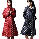 Freesmily Women Lightweight Waterproof Rain Poncho Rain Jacket Coat With Hood colorful Dots Pattern (Red, One Size)