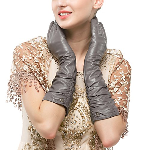 Nappaglo Women's Winter Long Leather Gloves Genuine Nappa Leather Touchscreen Ruched Elbow Party Mittens