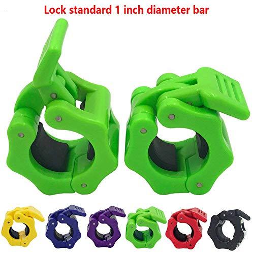 Greententljs 1 Inch Barbell Clamps Clip Quick Release Locking Barbells Pro Workout Professional Weight Collar Clips Lock 1'' Diameter Standard Bar (Green)