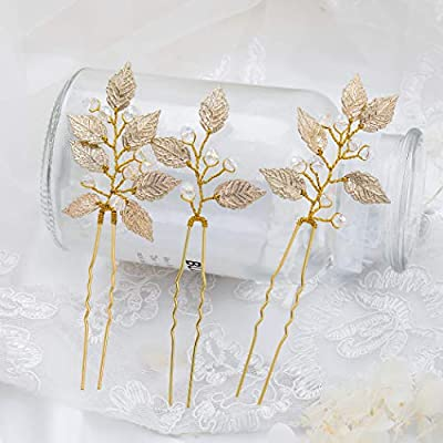 Artio Leaf Wedding Hair Pins Accessories with Beads for Brides and Bridesmaids 3 PCS