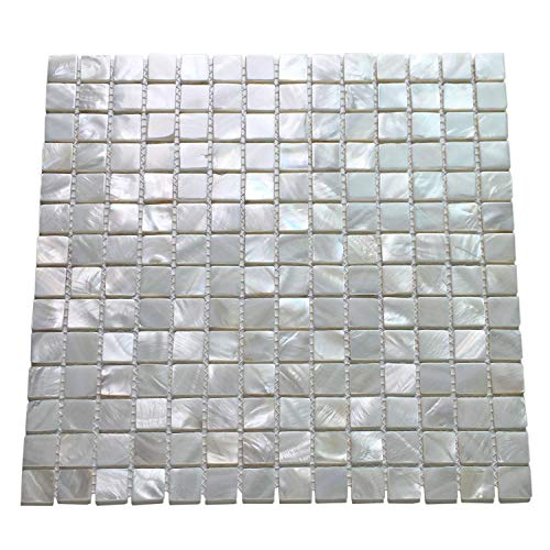 Art3d Oyster Mother of Pearl Square Shell Mosaic Tile for Kitchen Backsplashes, -
