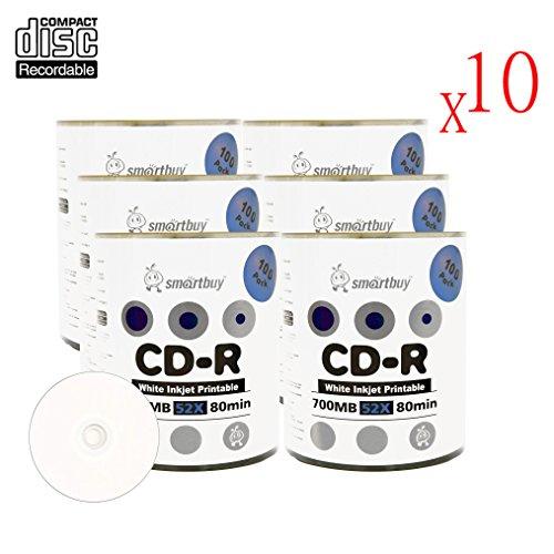 Smartbuy 700mb/80min 52x CD-R White Inkjet Hub Printable Blank Recordable Media Disc (6000-Disc)