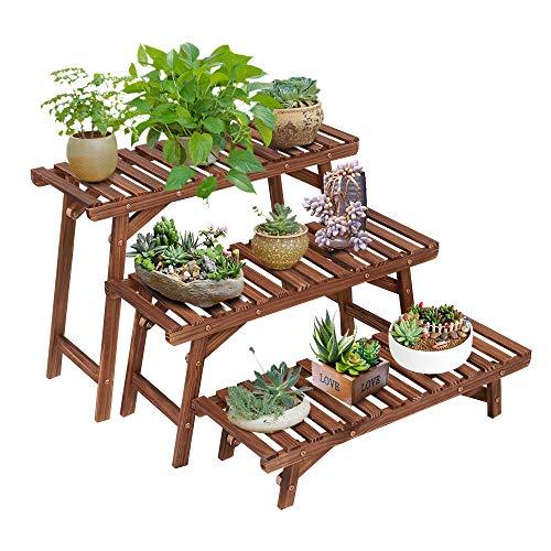 Design Plant Stand - Ufine Freestanding 3 Tier Step Design Plant Stand Indoor Outdoor Wood Plant Shelf Display Rack Ladder Flower Pot Holder Planter Organizer