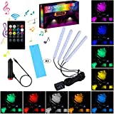Car LED Strip Light Interior,TOSPRA 4PCS 48 LED Multicolor Music Car Atmosphere Light,Sticky Foam Adhesive,Sensitively Wireless Remote Control with Sound Active Function (Remote Control-8 Colors)