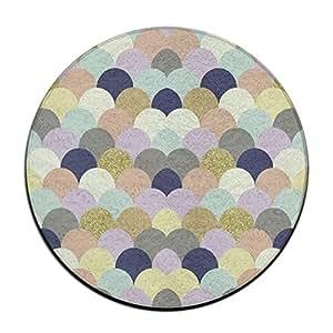 Colorful Fish Escala Alfombra De Suelo Redondo Doormats para decoración de casa Comedor dormitorio cocina baño balcón