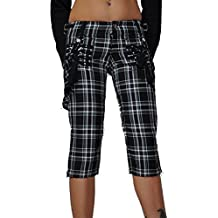 Tripp NYC Goth Plaid Capri Pants with Straps