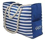 "Beach Bag – Waterproof, large (L 18.5"" x H 12.5"" x W 5.8""), with zippered top, cotton rope handles, bottle holders, internal & external pockets"