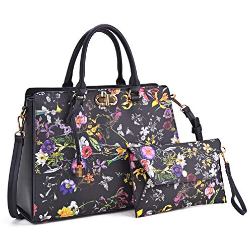 Medium Fashion Handbags for Women, Women's Designer Satchel Purses and Handbags Top Handle Shoulder Bags Tote Bag w/Pad Lock (7581 Black Flower)