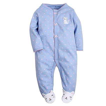 706fc71429e1a 長袖カバーオール 赤ちゃん 綿 コットン 前開きタイプ Baby ベビー服 肌着パジャマ 足つきロンパース カバーオール 女の子