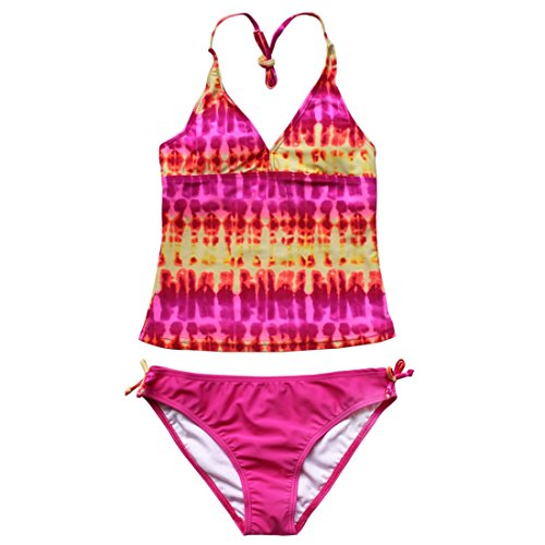 CHICTRY Big Girl's Youth 2 Piece Floral Tie-Dye Bathing Suit Tankini Swimwear Swimsuit Pink 16