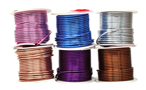 zed Aluminum Wire for Sculpting, Armature, Jewelry Making, Gem Metal Wrap, Garden, Colored and Soft, Assorted 6 Rolls (12 Gauge, Combo 10) ()