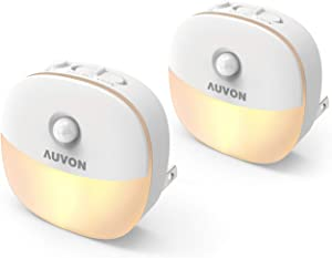 AUVON Plug-in LED Motion Sensor Night Light, Warm White LED Nightlight with Dusk to Dawn Sensor, Motion Sensor, Adjustable Brightness for Bedroom, Bathroom, Kitchen, Hallway, Stairs (2 Pack)