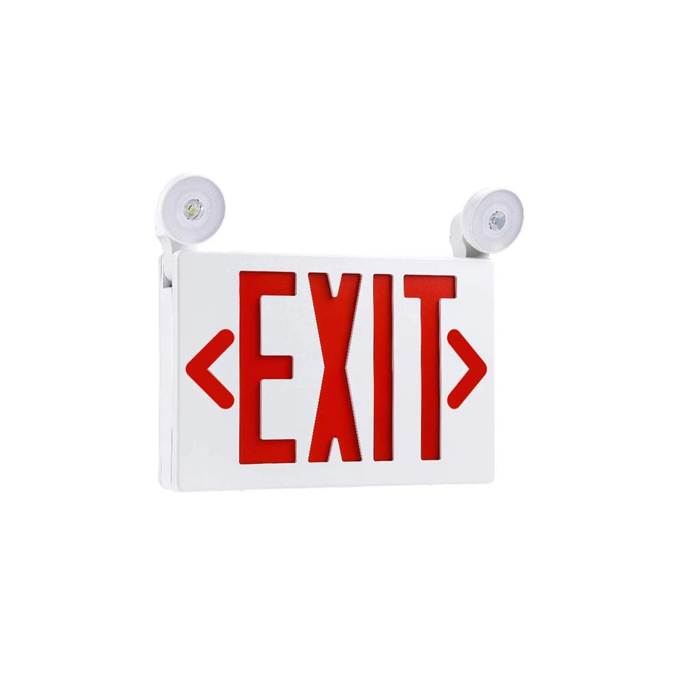 LEDMyplace Red LED Exit Sign and Emergency Light Combo with Battery Backup, Emergency Light, 3.5W, AC 120V/277V, Top/Side/Back Mount Sign Light, Test Button & Charge Indicator Light, UL Listed