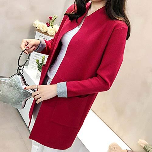 9f8eea22ba0 Larga Outwear Punto Suelto Abrigos Sólido Suave De Sudadera Medio Ysfu  Deportes Color Mujer Damas Vestido ...