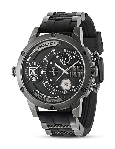 Police Justice League Limited Edition Black PVD Stainless Steel with Rubber Strap Men's Quartz Watch 14536EDG