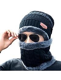 Men Beanies Hat Neck Warmer, Bonice Winter Knitted Hat Scarf Sets Gift for Men
