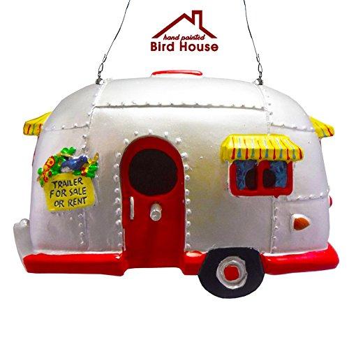 Rv Style Trailer Birdhouse, Resin Bird House for Garden or Patio by Big Mo's Toys