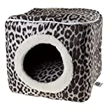 PETMAKER Cat Pet Bed Cave- Indoor Enclosed Covered Cavern/House for Cats Kittens and Small Pets with Removable Cushion Pad by, Gray/Black Animal Print
