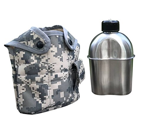 Jolmo Lander G.I.Style Stainless Steel Canteen 1.2L with ACU Cover by Jolmo Lander