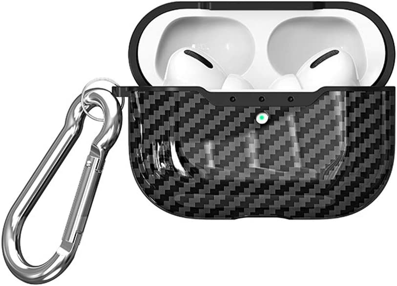 Compatible for Airpods Pro Wirelss Charging Case Black Cute Airpods Pro Silicone Carbon Fiber Protective Case Shockproof Shell with Carabiner Vikings AirPods Pro Case Cover Skin