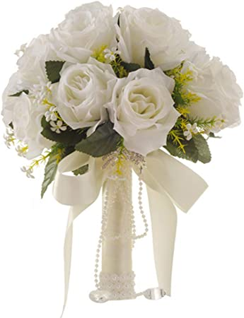 Bouquet Sposa Con Rose.Bouquet Da Sposa Bianco Artificiale Con Rose Flower Azienda Fiori