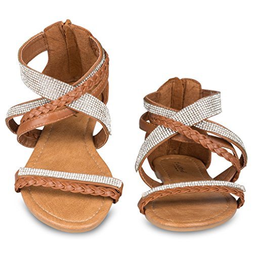6a6df21d6 low-cost Twisted Women s Daisy Faux Leather T-strap Sandal with Rhinestone  Accents