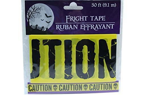 [30 ft Yellow Caution Fright Tape Halloween Decoration Haunted (Pack of 2)] (Crime Scene Decorations)