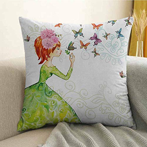 Bedding Soft Pillowcase Hypoallergenic Pillowcase Floral Lady in Green Dress with Leaf Ornaments Flower Pastel Butterfly W16 x L24 Inch Pink Orange -