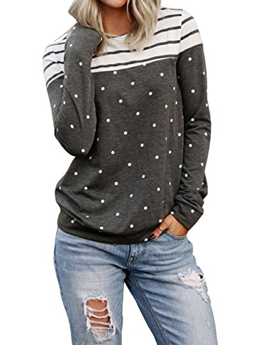 (Gobought Sweatshirt Color Block Long Sleeve Polka Dot Striped Tops T Shirt Pullover)
