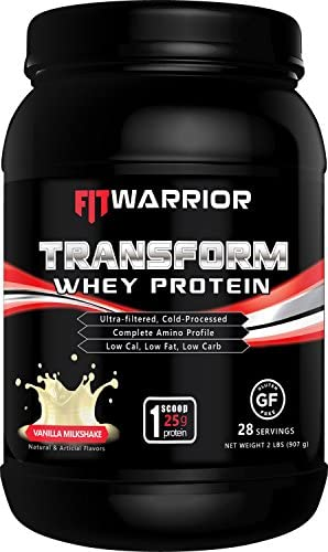 Transform Whey Protein Vanilla Milkshake , 25g Protein, 2 Pound Powder, 28 Serving, Cross-Flow Ultra-Filtered, Cold-Processed, Grass Fed, Non-GMO, Gluten-Free, Low Cal, Low Fat, Low Carb