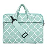 MOSISO Laptop Shoulder Bag Compatible 15-15.6 Inch MacBook Pro, Ultrabook Netbook Tablet, Canvas Geometric Pattern Protective Briefcase Carrying Handbag Sleeve Case Cover, Hot Blue Quatrefoil