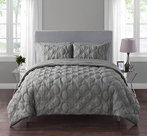 VCNY Atoll Embossed Circle Design 7-Piece Bed-in-a-Bag with Sheet Set Grey 5 Piece Twin (Bed Circle Sheets)