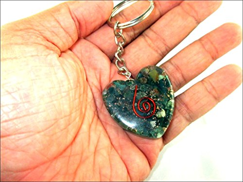 Orgone Key chain - Hijet Bloodstone Orgone Heart Shape Key Chain Piezo Electric EMF Protection Electromagnetic Waves Reduction Prana Life Force Energy Xmas A++ Chokurei Copper (Day After Halloween Is Called)