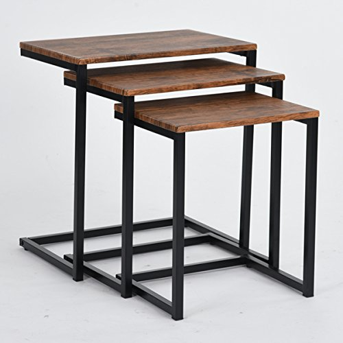 Set of 3 Vintage Brown Black Metal Frame Nesting Side End Table
