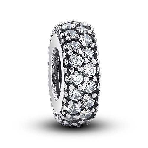 - Everbling Inspiration Within Fancy CZ Spacer 925 Sterling Silver Bead Fits European Charm Bracelet (Clear)