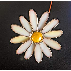 White Daisy Stem - Stained Glass Flower - Gift 114