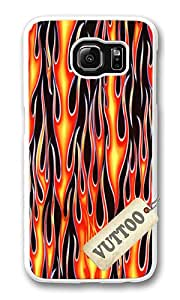 Samsung S6 Case,VUTTOO Cover With Photo: Hot Flames For Samsung Galaxy S6 - PC White Hard Case