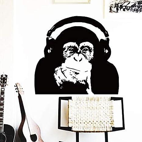Diseño de etiqueta de la pared Pensando mono con auriculares AFFE Decoración del hogar Vinilo César Música Rise Of The Planet Of Apes Orangután póster mural