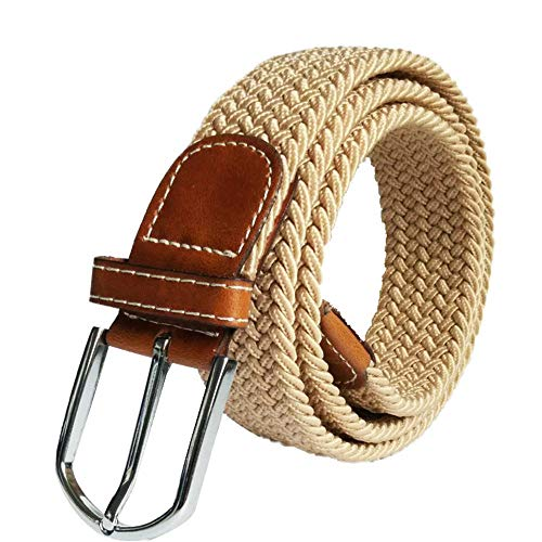 FEDULK Unisex Adjustable Canvas Military Waist Belt Straps Pure Colour Classic Retro Outdoor Belt(Beige, One Size) ()