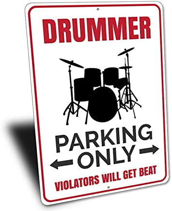 Drummer Parking Sign Drummer Gift Gifts for Drummers Drum Player Drum Wall Decor Boy Room Decor Band Decor Metal Sign for Home Wall Art Decor Post Plaque for Women Men