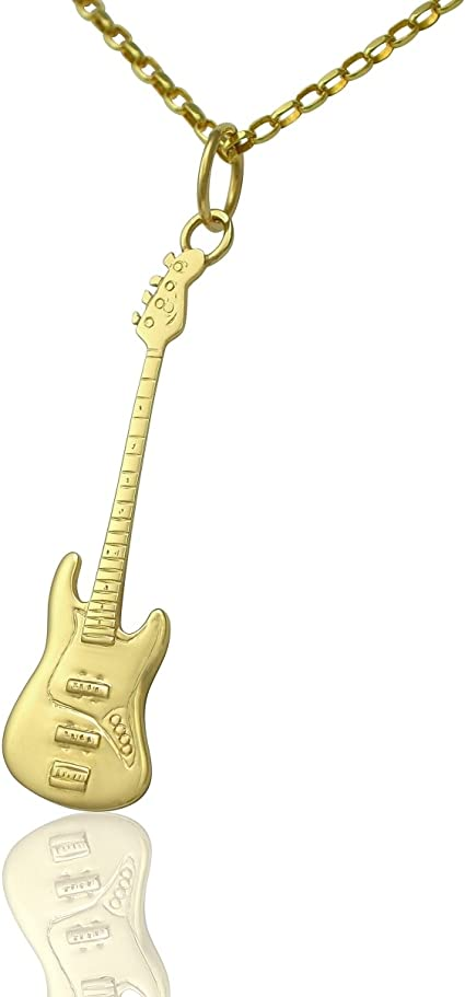Solid 9 ct oro Fender Jazz Bass guitarra colgante y collar regalo ...