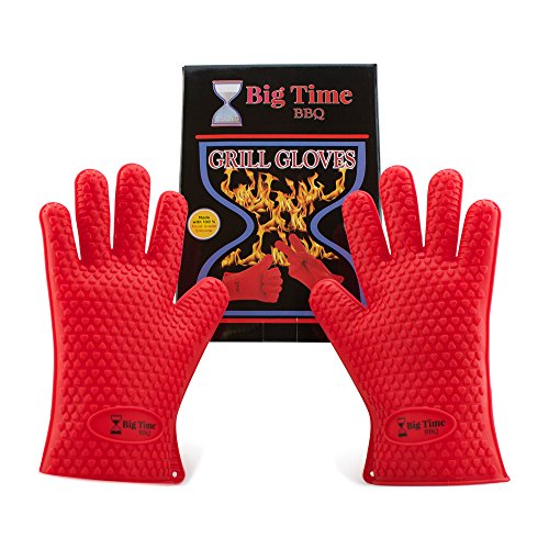 Big Time BBQ Silicone Heat Resistant Barbecue Grill Gloves and Oven Mitts With Fingers Perfect For Grilling Kitchen Cooking Baking Smoking Meat - Waterproof & Dishwasher Safe Non Slip Grip Potholders (Oven Mitts Silicone Small compare prices)