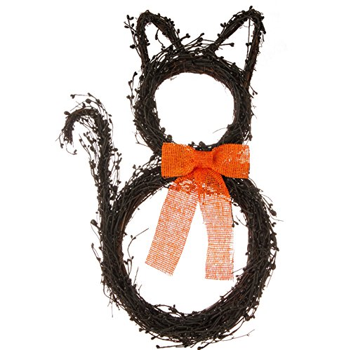 Black Cat-shaped Vine Wreath with Orange Bow, 22 Inches T...