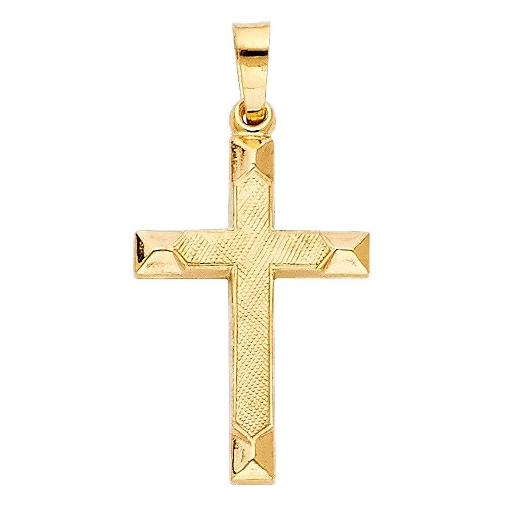 Precious Gem Jewellers 14k Yellow Gold Plain Layered Cross Pendant