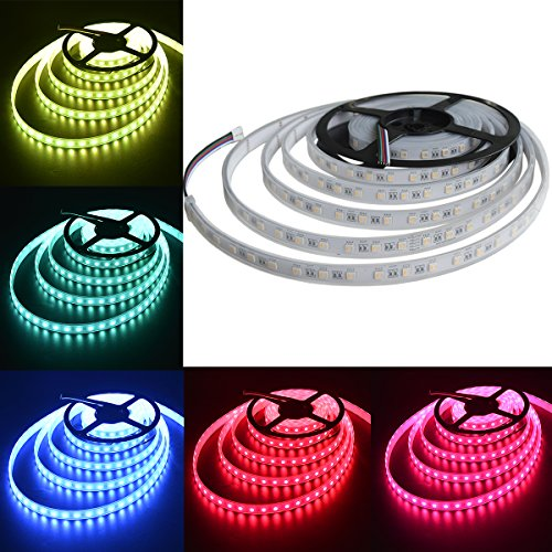 5 Chips Warm White Led - Mokungit 5050 RGBW LED Strip Light RGB+Warm White(2700K) 4 Colors in 1 SMD 5050 LED Chip 16.4ft 60 LEDs/m 12V White PCB Waterproof IP67 Mixed Color LED Strip Light