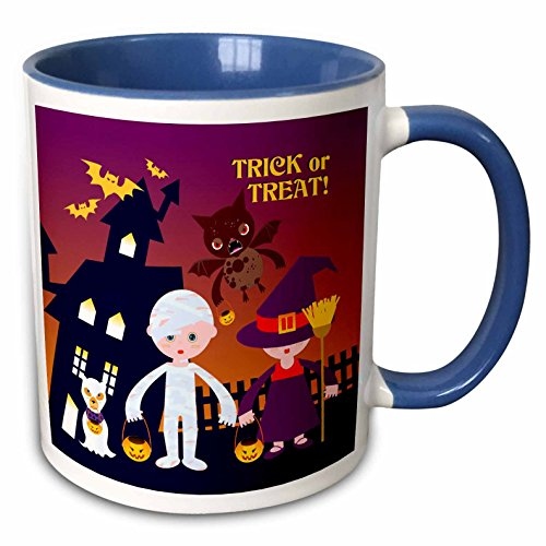 3dRose Belinha Fernandes - Halloween Celebration - Trick or treat message and kids dressed up as mummy and witch with dog ghost - 15oz Two-Tone Blue Mug -