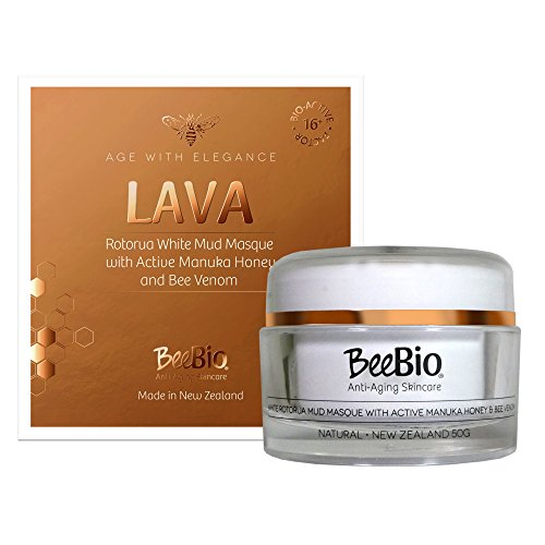 Active Mud Face (Lava Mud Face Mask - Natural White Volcanic Clay Mask 1.76oz - Rotorua White Mineral Mud Mask w/Active 16+ Manuka Honey & Bee Venom - Cleanse, Purify & Exfoliate Skin - BeeBio New Zealand)